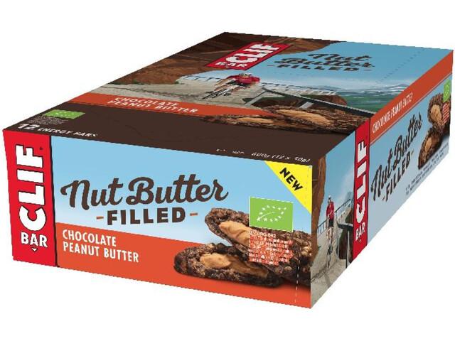 CLIF Bar Nut Butter Caja Barritas Energéticas 12x50g, Chocolate Peanut Butter